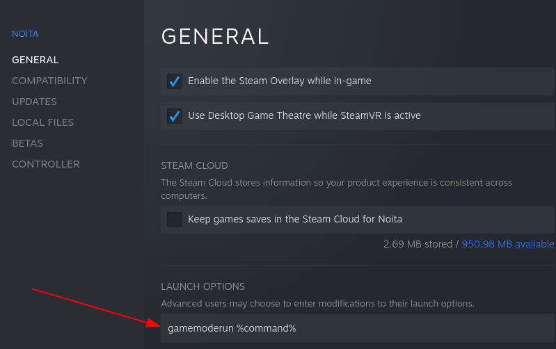adding gamemode to the launch options