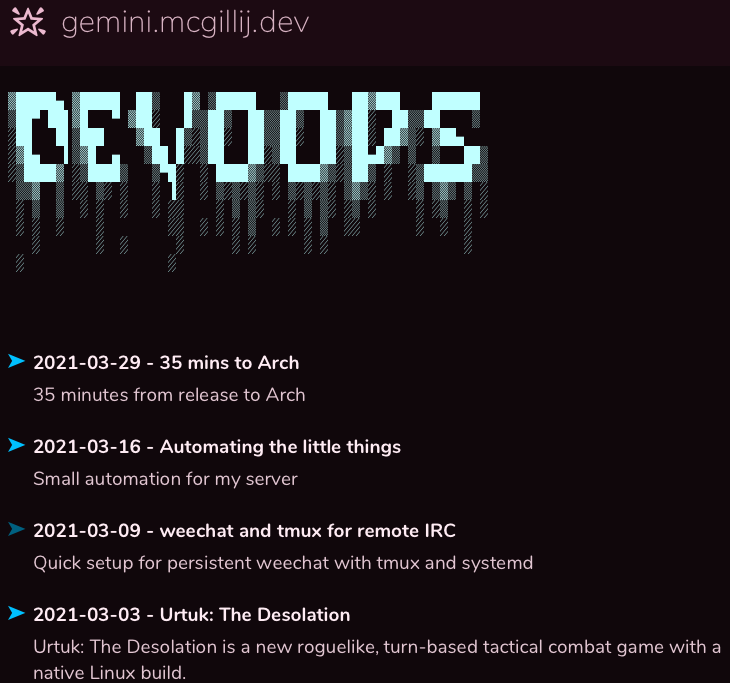 Image of the site in a gemini browser