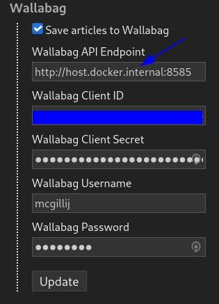Miniflux Wallabag integration screenshot
