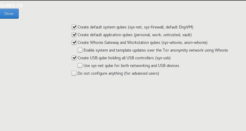 qubes post install configuration / setup