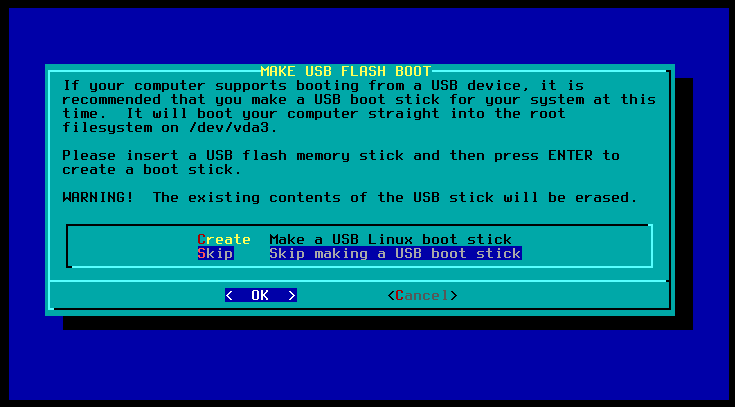 choose no for usb boot