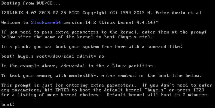 slackware bootloader for installation media