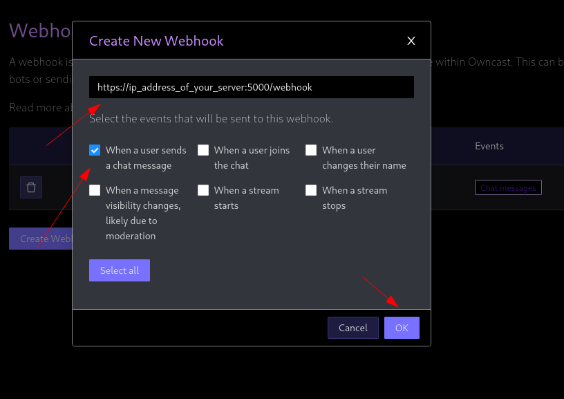 creating a webhook in owncast