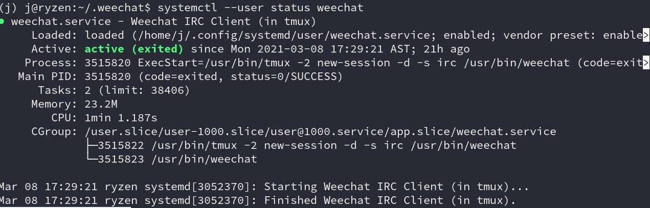 weechat systemd status